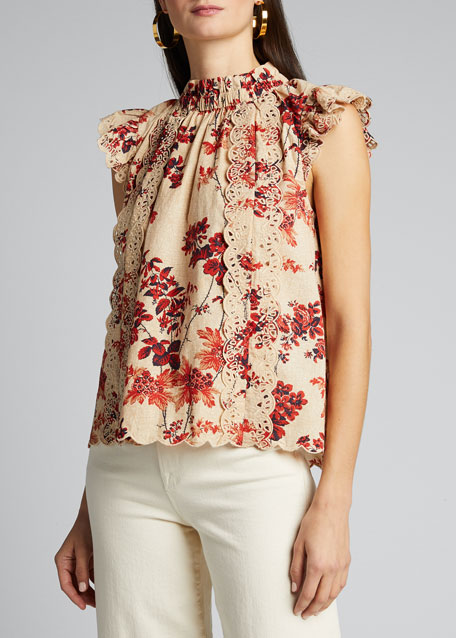 Thea Floral-Print Flutter-Sleeve Top
