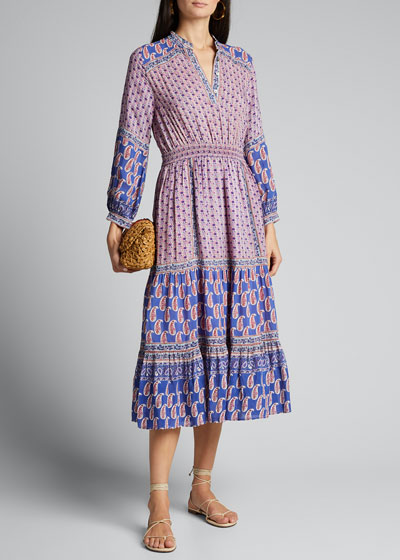 Bianca Paisley-Print Long-Sleeve Dress