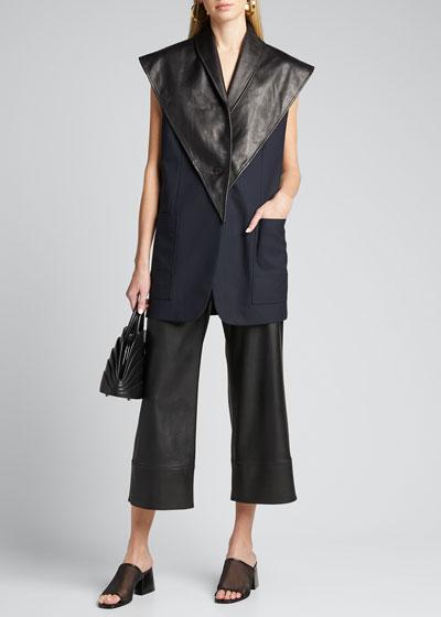 Wool Poplin Vest w/ Removable Leather Scarf