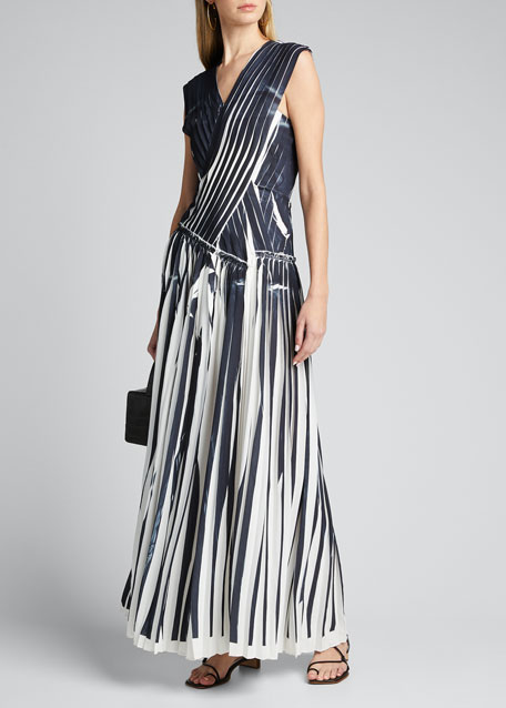 Image 1 of 1: Knife Pleated Crossover Dress