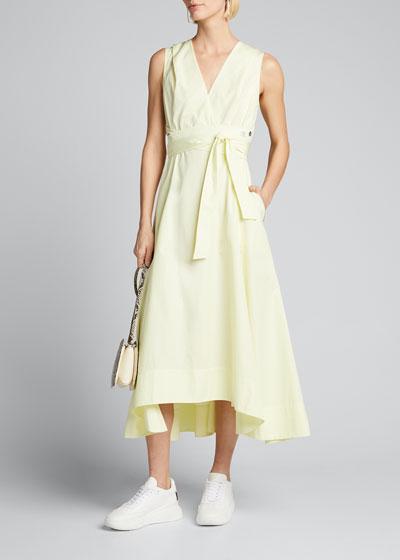 Sleeveless Poplin V-Neck Dress with Utility Tie Detail