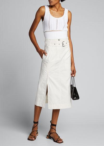 Belted Cargo Midi Skirt