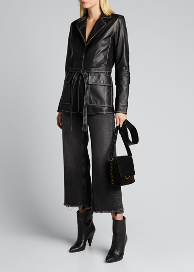 Ariana Lamb Leather Belted Blazer