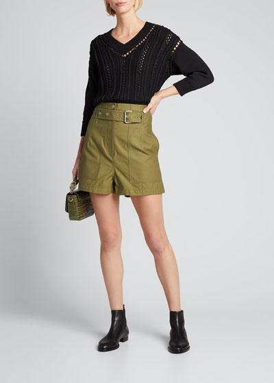 3/4-Sleeve Hand Crochet V-Neck Sweater