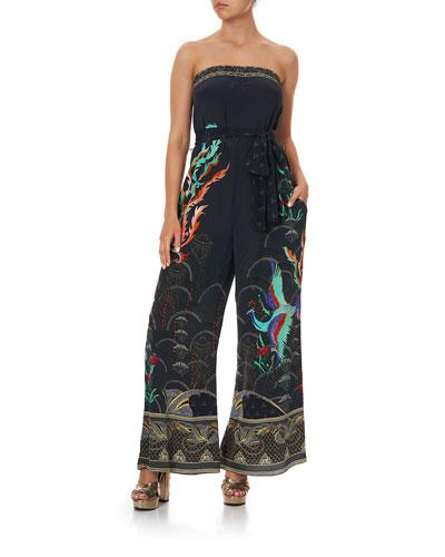 Silk Tie-Waist Strapless Jumpsuit