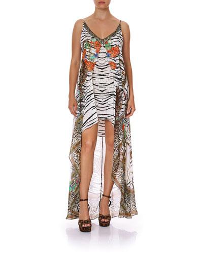 Flared Mini Dress w/ Sheer Overlay