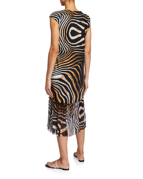 Zehra Illusion Printed Coverup Dress