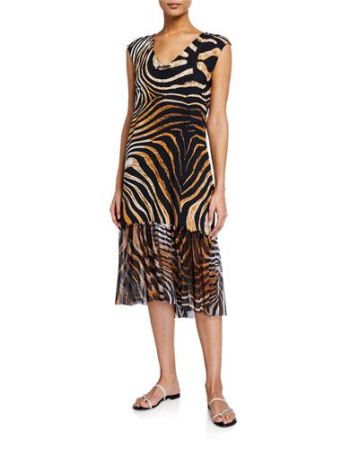 Zehra Illusion Printed Coverup Dress
