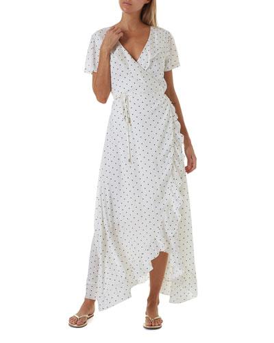 Tilly Dot-Print Ruffle Coverup Dress