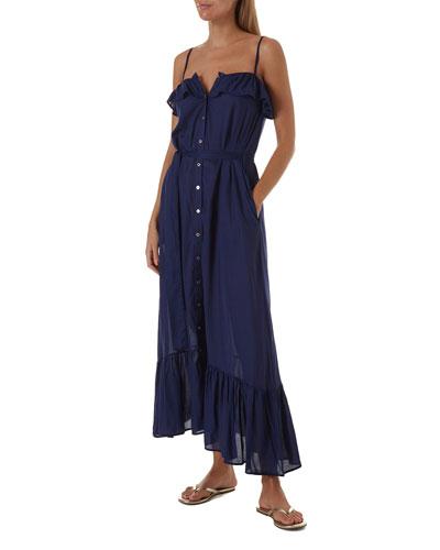 Kyla Button-Down Ruffle Coverup Dress