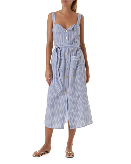 Celina Striped Button-Down Coverup Dress