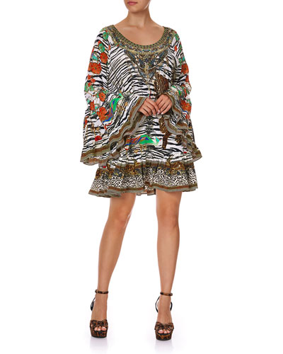 Mixed-Print A-Line Silk Frill Dress