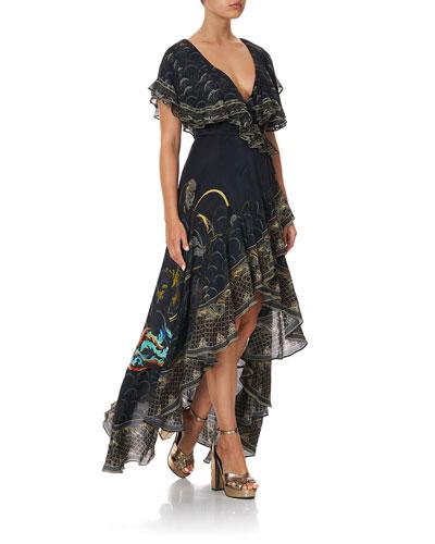 Frill-Sleeve Silk Maxi Dress