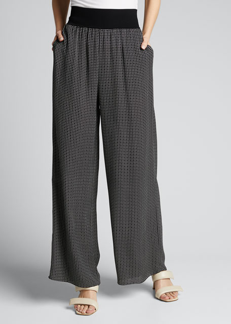 Geometric Wide-Leg Silk Pants w/ Rib Waistband