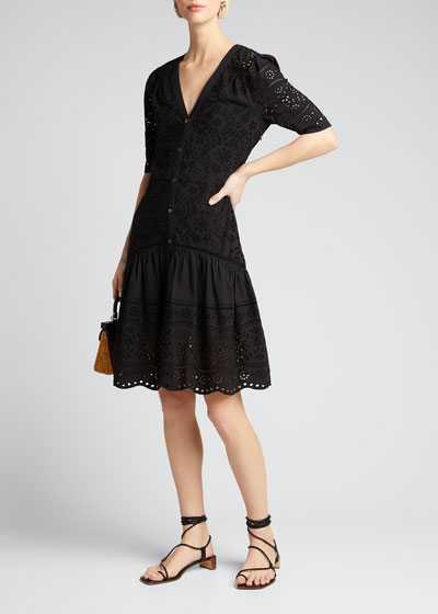 Eve Button-Front Eyelet Dress