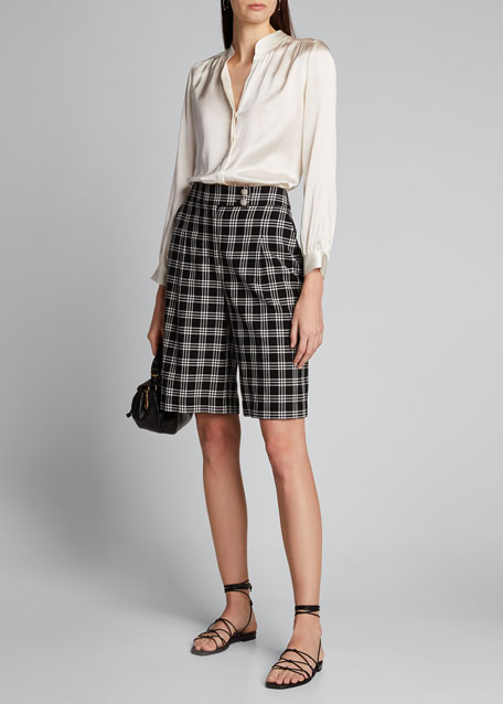 Image 1 of 1: Saira Check Culotte Shorts