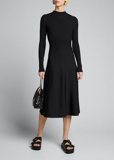 Compact Rib Long-Sleeve Dress