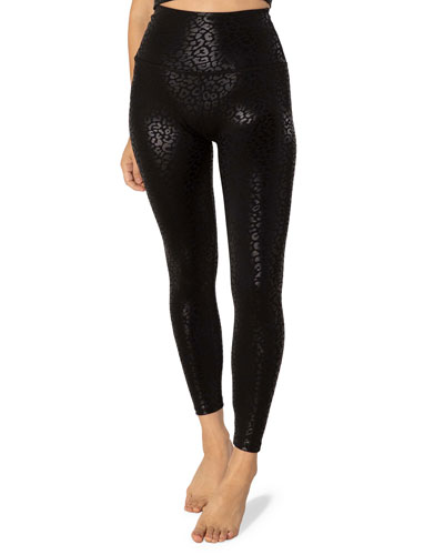 High Waisted Midi Leggings - Black Leopard