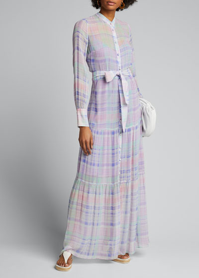 Evangeline Button-Front Check Maxi Dress