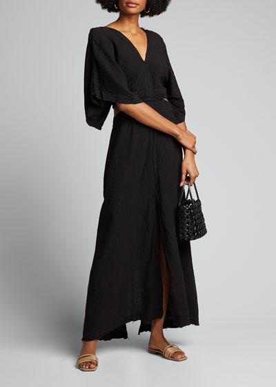 Linen V-Neck Cutout Dress