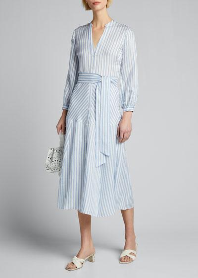 Jenna Striped Tie-Waist Dress