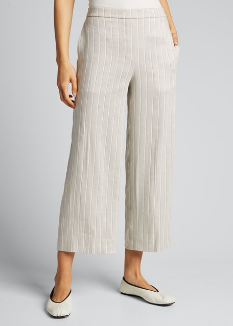 Striped Wide-Leg Cropped Pull-On Pants