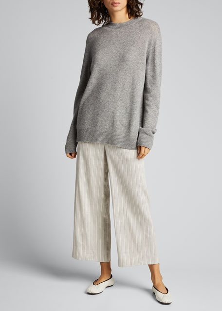 Image 1 of 1: Striped Wide-Leg Cropped Pull-On Pants