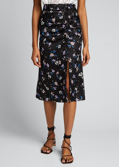 Vanity Floral-Print Ruched Skirt