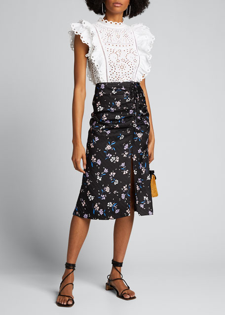 Image 1 of 1: Vanity Floral-Print Ruched Skirt