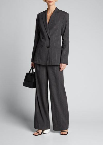Isselin Stripe Blazer with Cutout Sleeve