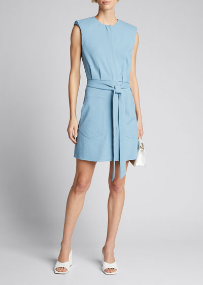 Chalky Drape Short Shirtdress with Shoulder Pads