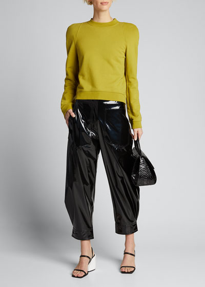 Patent Sculpted Ankle Pants