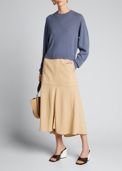 Spring Cashmere Open-Sleeve Sweater