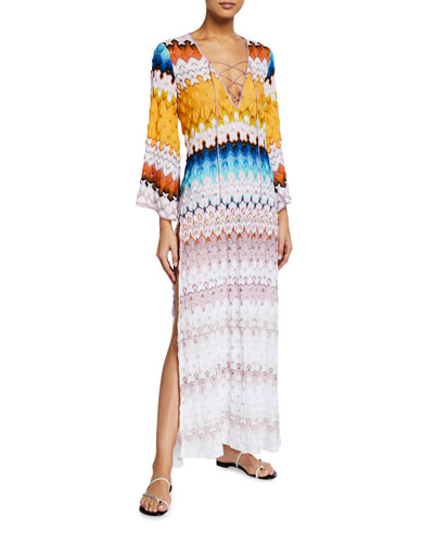 Lace-Up Long-Sleeve Maxi Coverup Dress