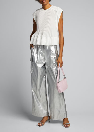 Metallic Pleated Cargo Pants