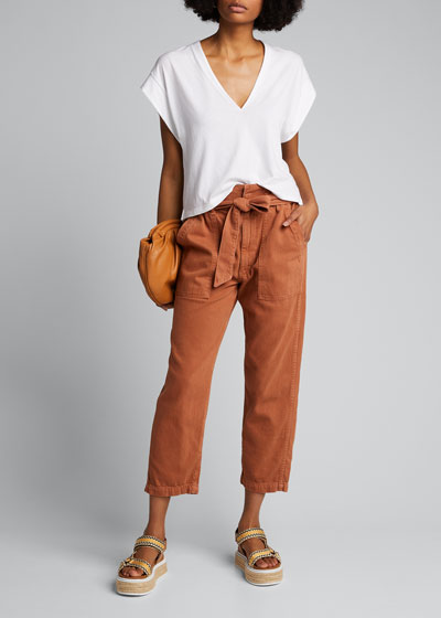 Straight-Leg Belted Paperbag Pants