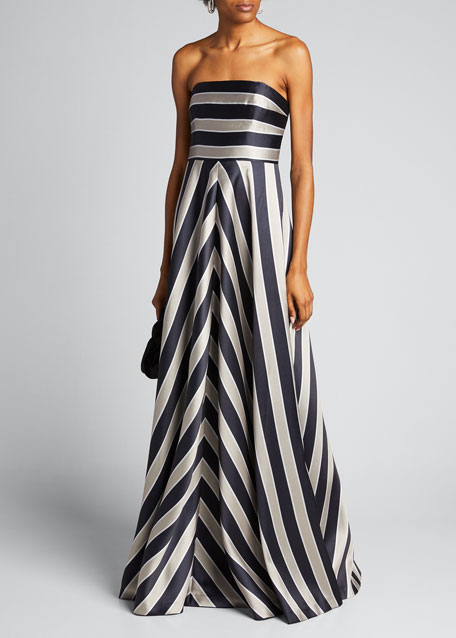 Tricolor Stripe Print Duchess Satin Strapless Gown