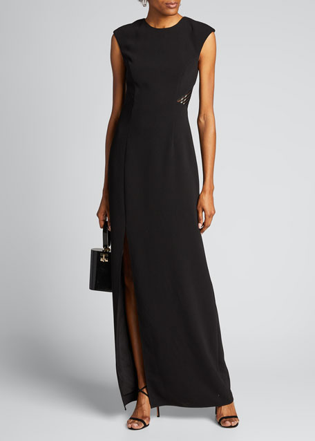 Sleeveless Heavy Crepe Gown w/ Back Embroidery Detail