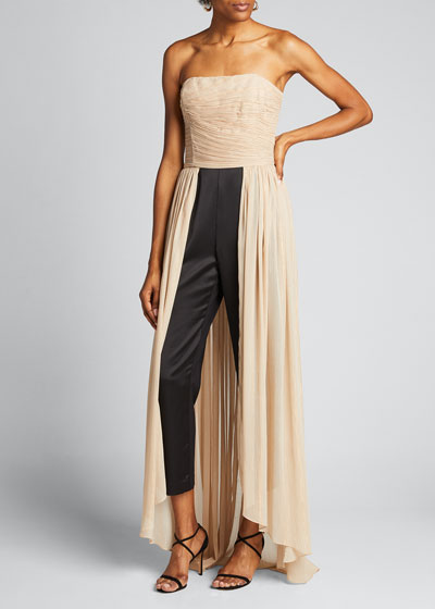 Jumpsuit with Dramatic Pleated Skirt Overlay