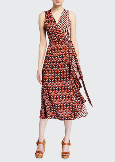 Moira Printed Sleeveless Wrap Dress