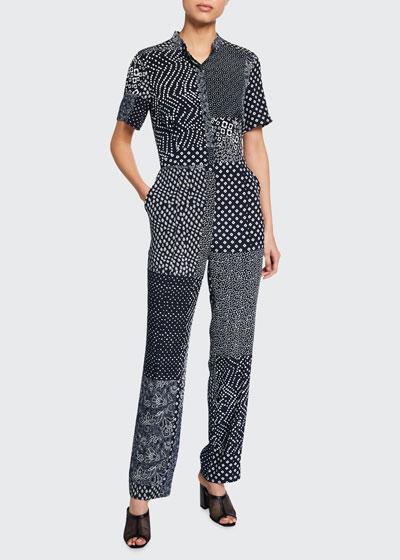 Lucy Patchwork Silk Shirt Jumpsuit