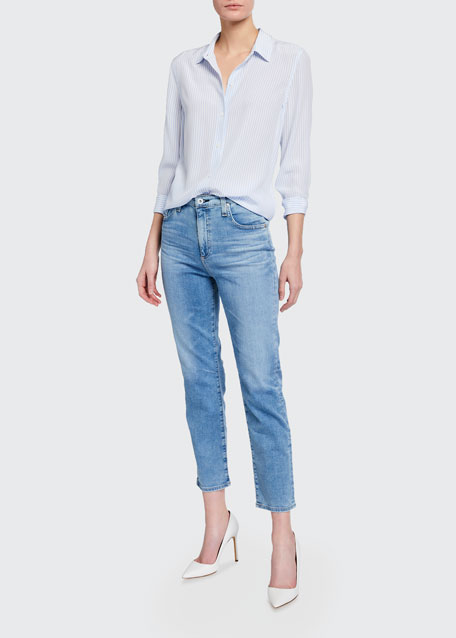Image 1 of 1: Isabelle High-Rise Straight-Leg Crop Jeans