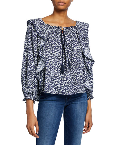 The Song Floral-Print Ruffle Top