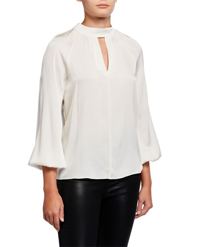 Emmie Stretch Silk Tie-Back Top