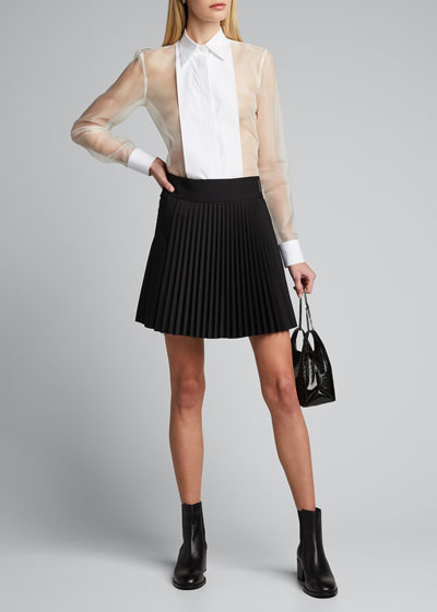 Pleated Wool Mini Skirt