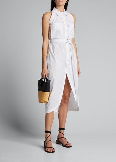 Sleeveless Cotton Shirtdress w/ Cutaway Hem