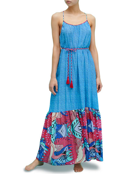Image 1 of 1: Pavo Real Silk Ruffle Maxi Dress