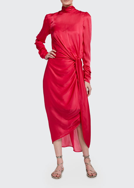 Image 1 of 1: Draped Long-Sleeve Asymmetric Cocktail Dress