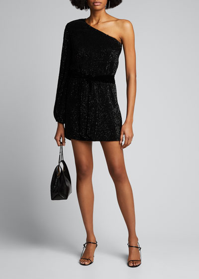Bridget One-Shoulder Sequined Dress