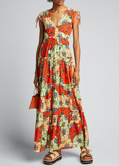 Island Printed Tiered Maxi Dress
